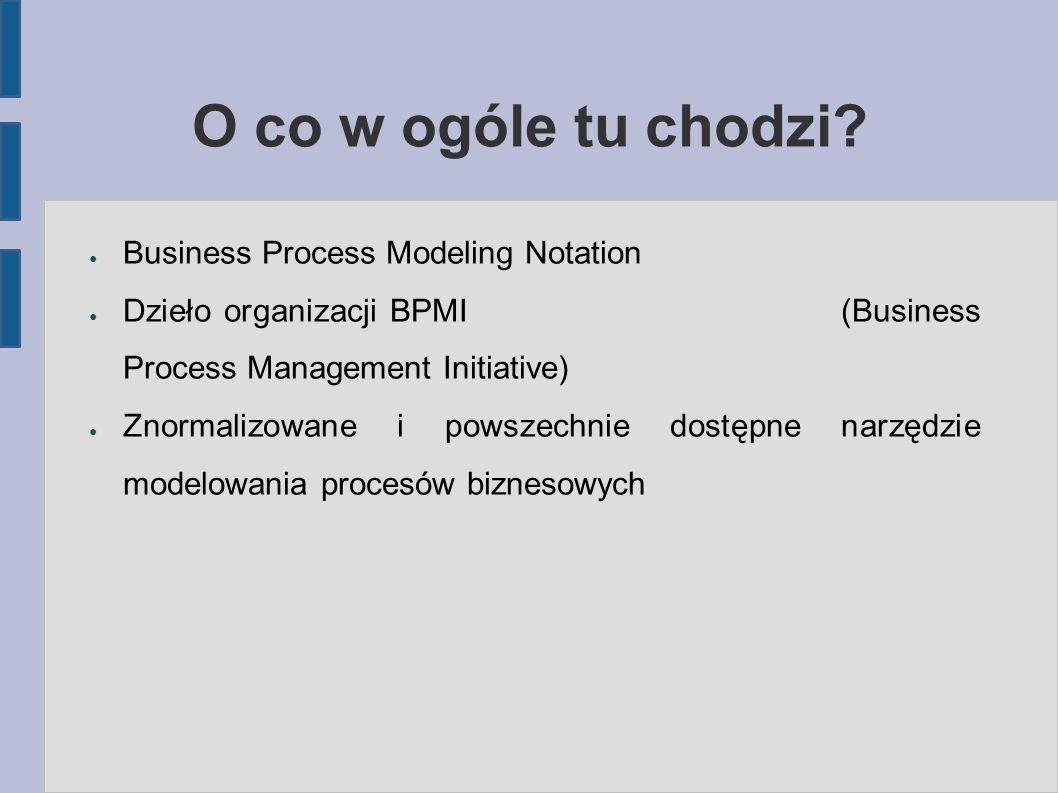O co w ogóle tu chodzi? ● Business Process Modeling Notation ● Dzieło organizacji BPMI (Business Process Management Initiative) ● Znormalizowane i pow