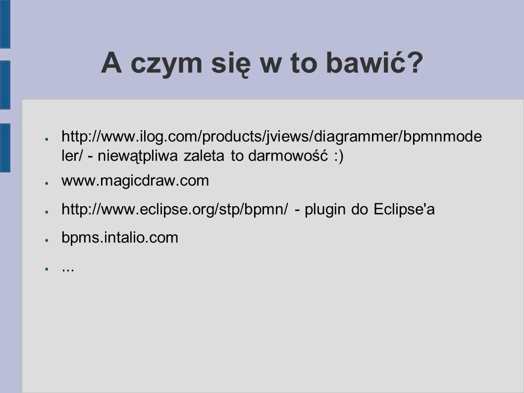 A czym się w to bawić? ● http://www.ilog.com/products/jviews/diagrammer/bpmnmode ler/ - niewątpliwa zaleta to darmowość :) ● www.magicdraw.com ● http: