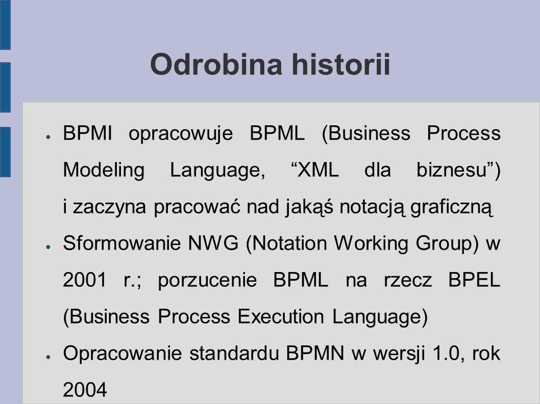 """Odrobina historii ● BPMI opracowuje BPML (Business Process Modeling Language, """"XML dla biznesu"""") i zaczyna pracować nad jakąś notacją graficzną ● Sfor"""
