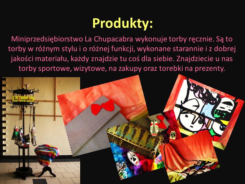 Produkty: Miniprzedsiębiorstwo La Chupacabra wykonuje torby ręcznie. Są to torby w różnym stylu i o różnej funkcji, wykonane starannie i z dobrej jako