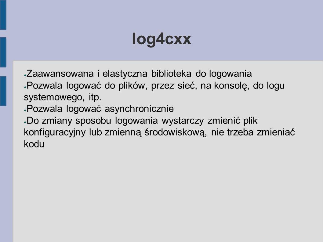 log4cxx ● Zaawansowana i elastyczna biblioteka do logowania ● Pozwala logować do plików, przez sieć, na konsolę, do logu systemowego, itp.