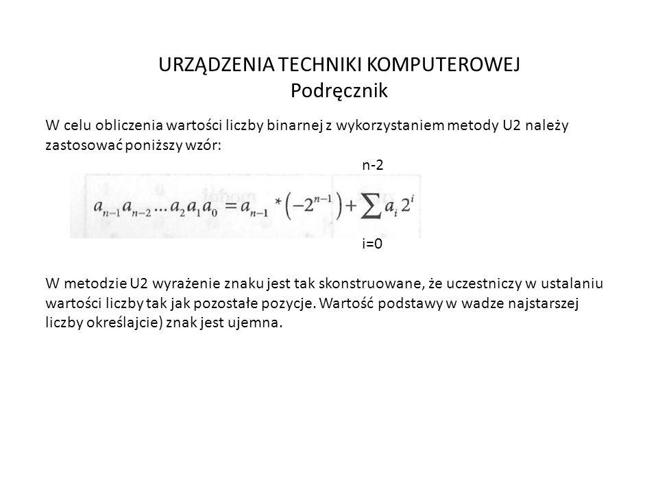 URZĄDZENIA TECHNIKI KOMPUTEROWEJ Podręcznik W celu obliczenia wartości liczby binarnej z wykorzystaniem metody U2 należy zastosować poniższy wzór: n-2 i=0 W metodzie U2 wyrażenie znaku jest tak skonstruowane, że uczestniczy w ustalaniu wartości liczby tak jak pozostałe pozycje.