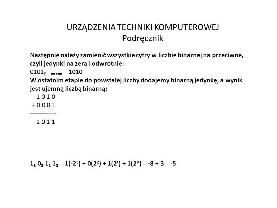 URZĄDZENIA TECHNIKI KOMPUTEROWEJ Podręcznik Następnie należy zamienić wszystkie cyfry w liczbie binarnej na przeciwne, czyli jedynki na zera i odwrotnie: 0101 B ===== 1010 W ostatnim etapie do powstałej liczby dodajemy binarną jedynkę, a wynik jest ujemną liczbą binarną: 1 0 1 0 + 0 0 0 1 ------------- 1 0 1 1 1 3 0 2 1 1 1 0 = 1(-2 3 ) + 0(2 2 ) + 1(2 ) + 1(2°) = -8 + 3 = -5