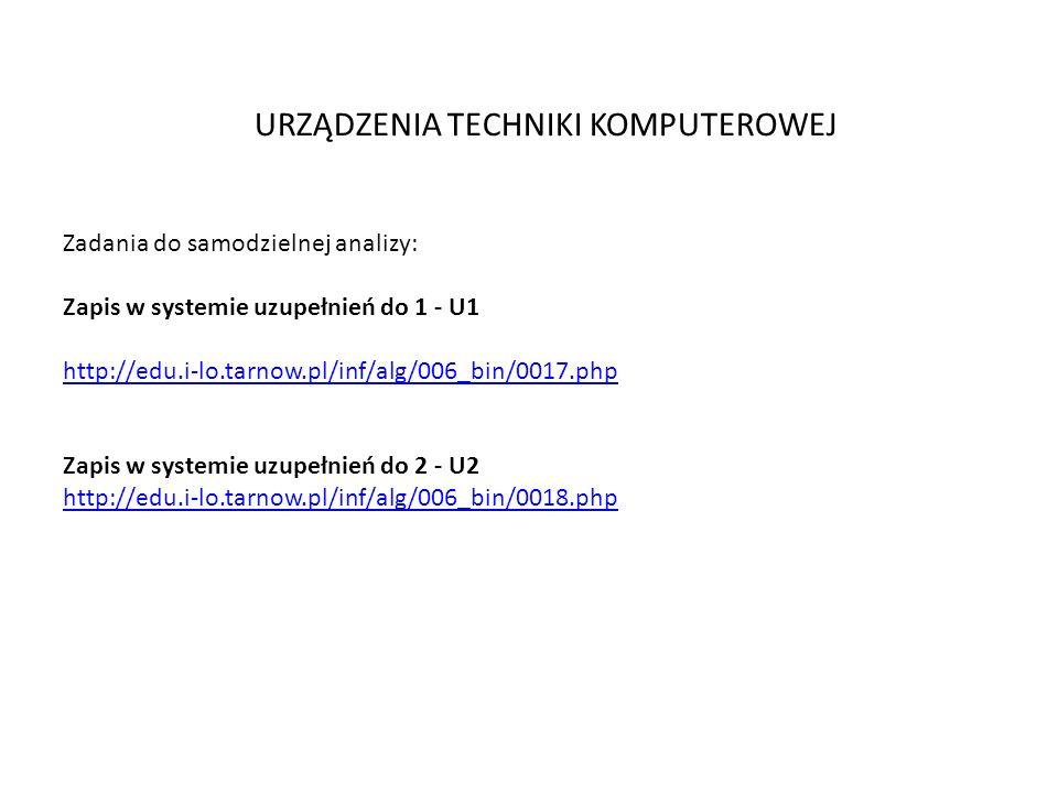 URZĄDZENIA TECHNIKI KOMPUTEROWEJ Zadania do samodzielnej analizy: Zapis w systemie uzupełnień do 1 - U1 http://edu.i-lo.tarnow.pl/inf/alg/006_bin/0017.php Zapis w systemie uzupełnień do 2 - U2 http://edu.i-lo.tarnow.pl/inf/alg/006_bin/0018.php