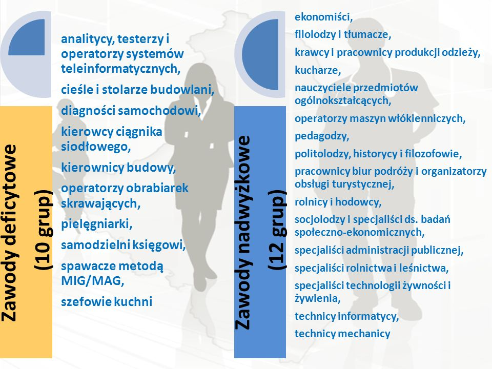 Zawody deficytowe (10 grup) analitycy, testerzy i operatorzy systemów teleinformatycznych, cieśle i stolarze budowlani, diagności samochodowi, kierowcy ciągnika siodłowego, kierownicy budowy, operatorzy obrabiarek skrawających, pielęgniarki, samodzielni księgowi, spawacze metodą MIG/MAG, szefowie kuchni Zawody nadwyżkowe (12 grup) ekonomiści, filolodzy i tłumacze, krawcy i pracownicy produkcji odzieży, kucharze, nauczyciele przedmiotów ogólnokształcących, operatorzy maszyn włókienniczych, pedagodzy, politolodzy, historycy i filozofowie, pracownicy biur podróży i organizatorzy obsługi turystycznej, rolnicy i hodowcy, socjolodzy i specjaliści ds.