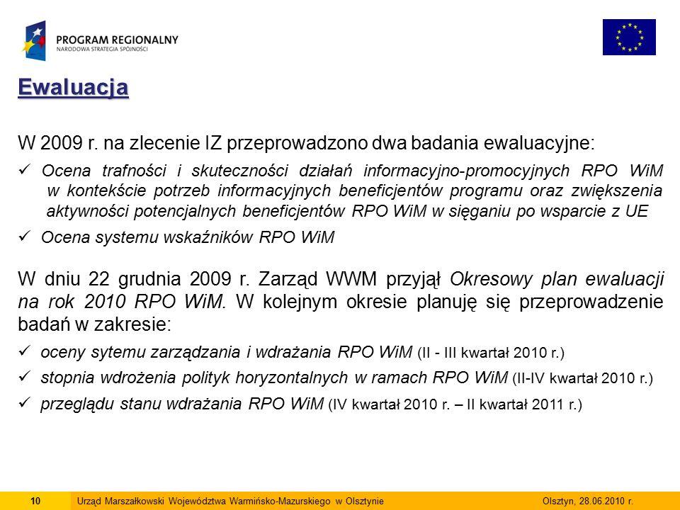 10Urząd Marszałkowski Województwa Warmińsko-Mazurskiego w Olsztynie Olsztyn, 28.06.2010 r.Ewaluacja W 2009 r.