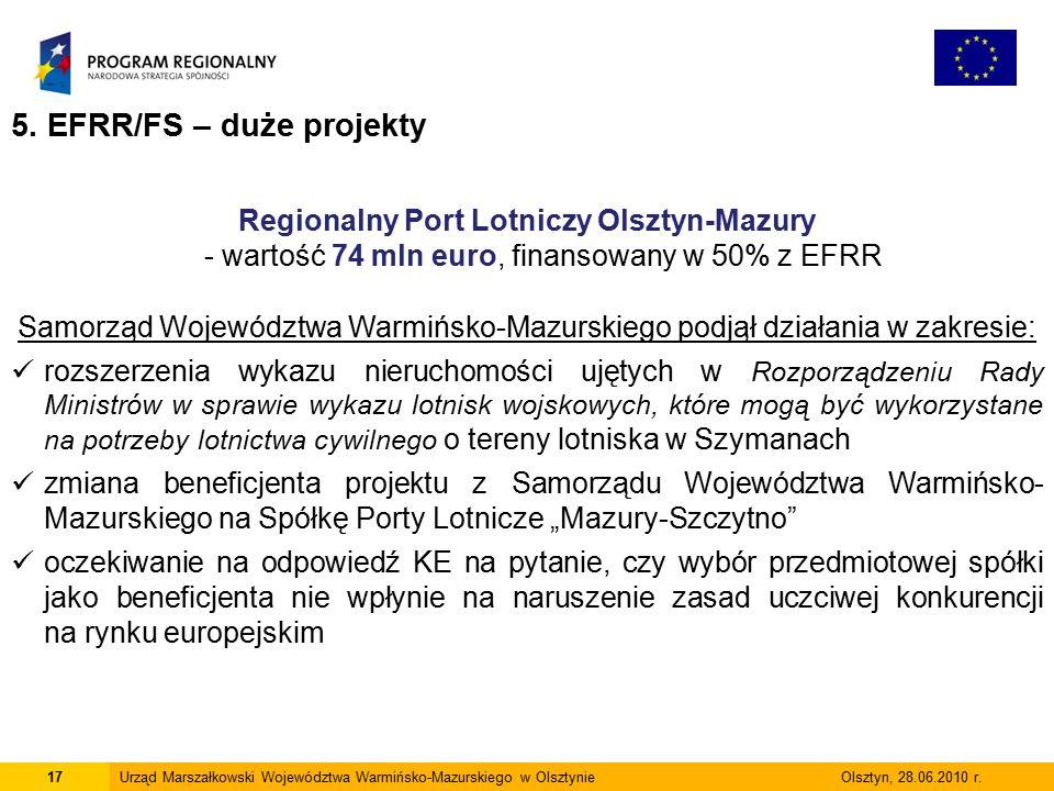 17Urząd Marszałkowski Województwa Warmińsko-Mazurskiego w Olsztynie Olsztyn, 28.06.2010 r.