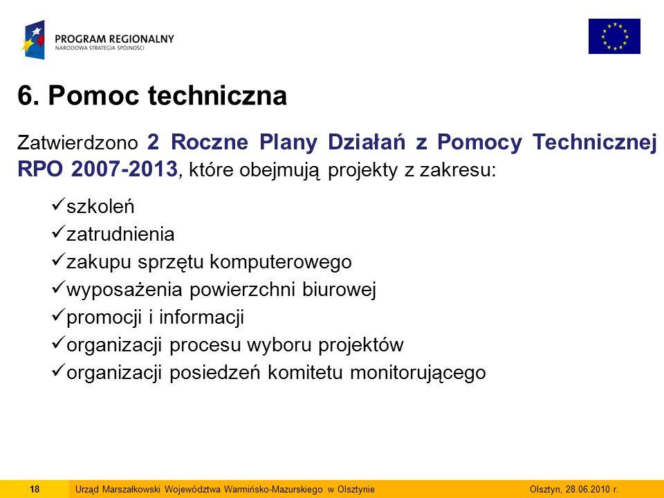18Urząd Marszałkowski Województwa Warmińsko-Mazurskiego w Olsztynie Olsztyn, 28.06.2010 r.