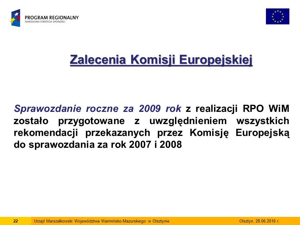 22Urząd Marszałkowski Województwa Warmińsko-Mazurskiego w Olsztynie Olsztyn, 28.06.2010 r.