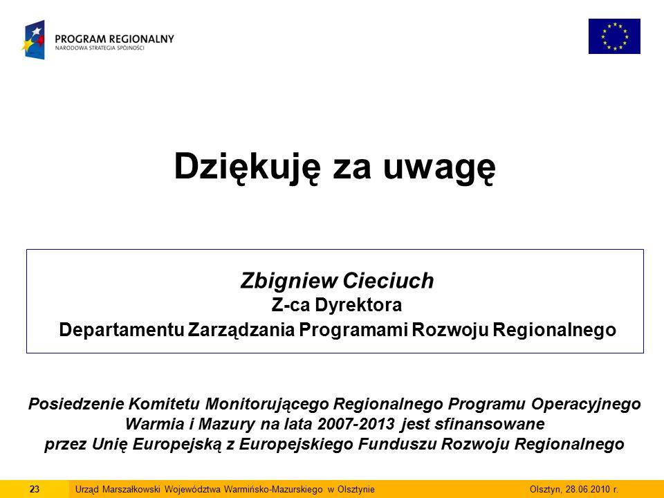23Urząd Marszałkowski Województwa Warmińsko-Mazurskiego w Olsztynie Olsztyn, 28.06.2010 r.