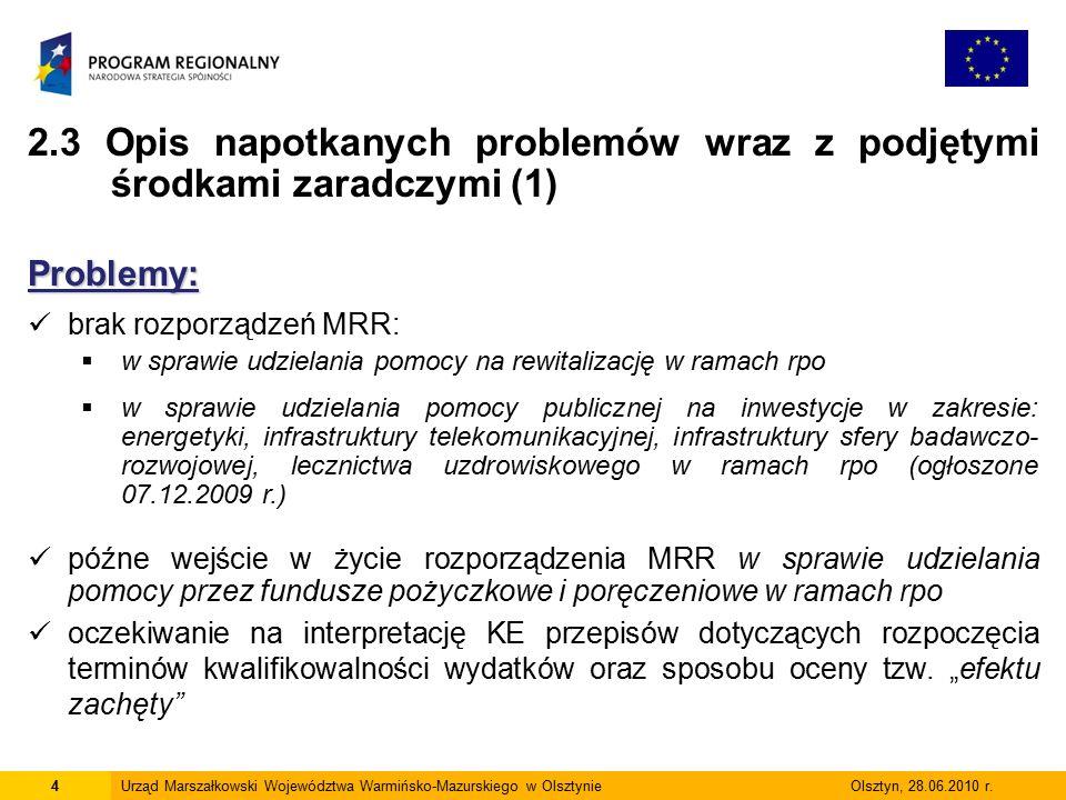 4Urząd Marszałkowski Województwa Warmińsko-Mazurskiego w Olsztynie Olsztyn, 28.06.2010 r.