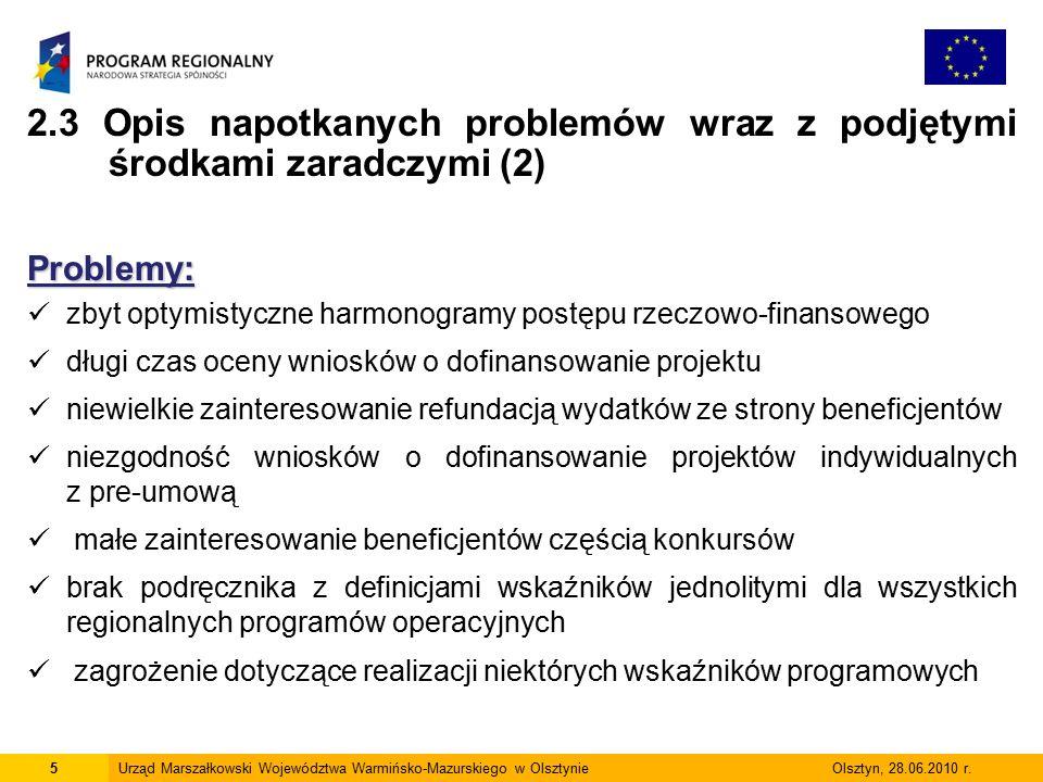 5Urząd Marszałkowski Województwa Warmińsko-Mazurskiego w Olsztynie Olsztyn, 28.06.2010 r.