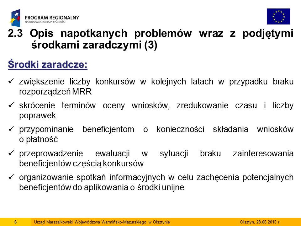 6Urząd Marszałkowski Województwa Warmińsko-Mazurskiego w Olsztynie Olsztyn, 28.06.2010 r.
