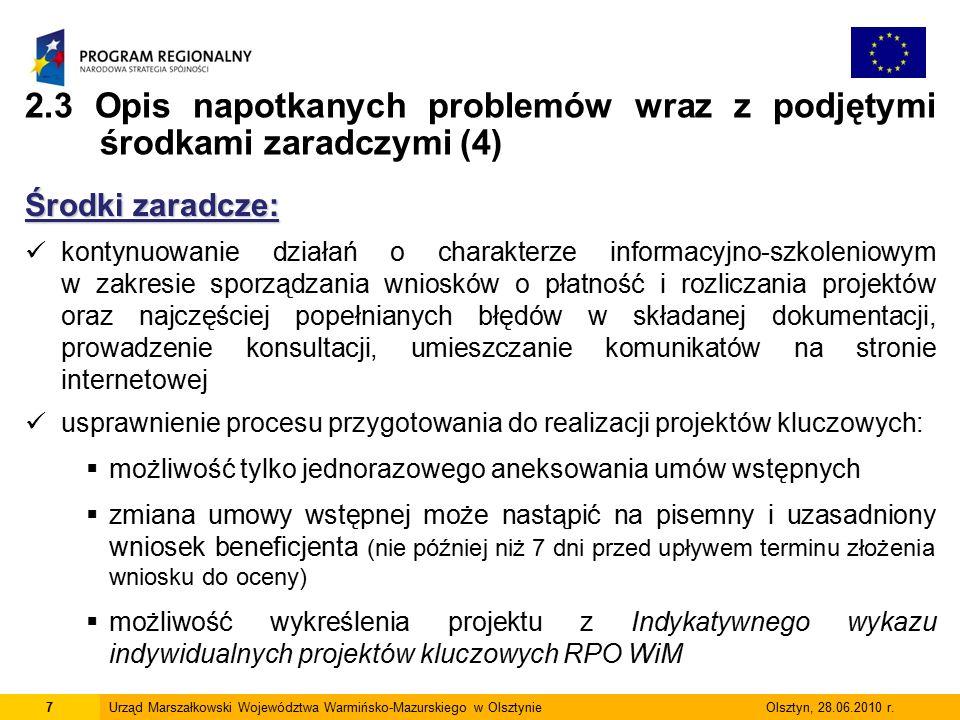 7Urząd Marszałkowski Województwa Warmińsko-Mazurskiego w Olsztynie Olsztyn, 28.06.2010 r.