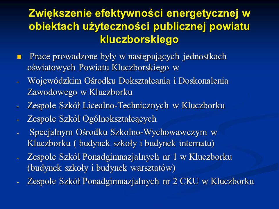 Zwiększenie efektywności energetycznej w obiektach użyteczności publicznej powiatu kluczborskiego Prace prowadzone były w następujących jednostkach oświatowych Powiatu Kluczborskiego w Prace prowadzone były w następujących jednostkach oświatowych Powiatu Kluczborskiego w - Wojewódzkim Ośrodku Dokształcania i Doskonalenia Zawodowego w Kluczborku - Zespole Szkół Licealno-Technicznych w Kluczborku - Zespole Szkół Ogólnokształcących - Specjalnym Ośrodku Szkolno-Wychowawczym w Kluczborku ( budynek szkoły i budynek internatu) - Zespole Szkół Ponadgimnazjalnych nr 1 w Kluczborku (budynek szkoły i budynek warsztatów) - Zespole Szkół Ponadgimnazjalnych nr 2 CKU w Kluczborku