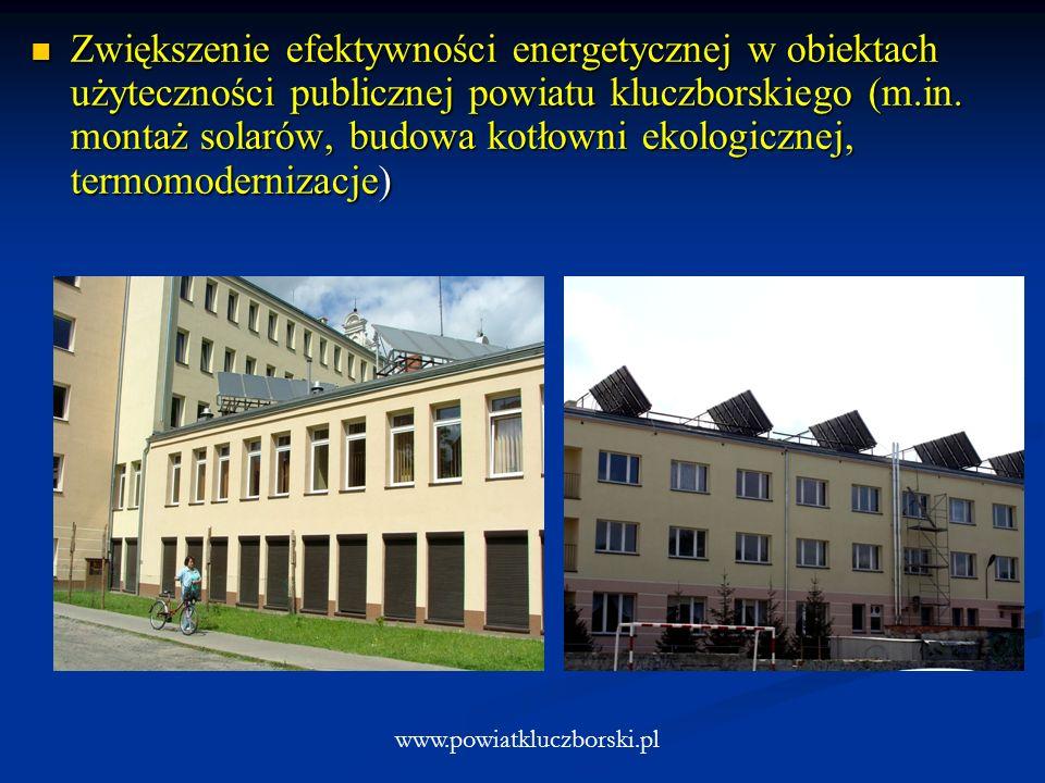 Zwiększenie efektywności energetycznej w obiektach użyteczności publicznej powiatu kluczborskiego (m.in. montaż solarów, budowa kotłowni ekologicznej,