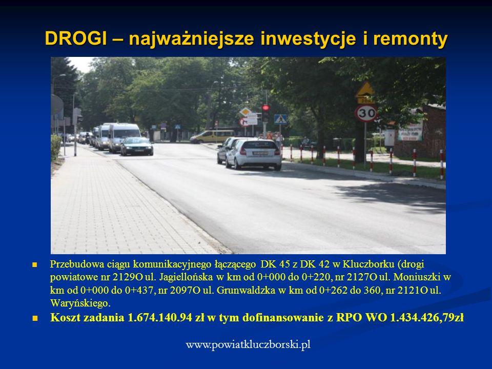 DROGI – najważniejsze inwestycje i remonty www.powiatkluczborski.pl Przebudowa ciągu komunikacyjnego łączącego DK 45 z DK 42 w Kluczborku (drogi powiatowe nr 2129O ul.