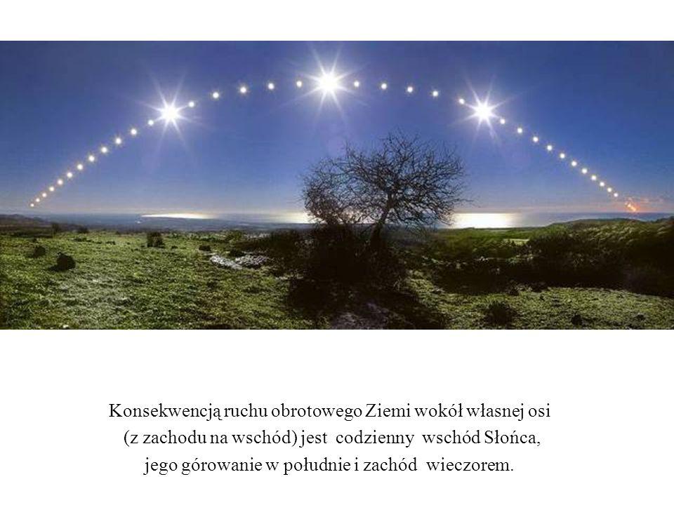 Konsekwencją ruchu obrotowego Ziemi wokół własnej osi (z zachodu na wschód) jest codzienny wschód Słońca, jego górowanie w południe i zachód wieczorem.
