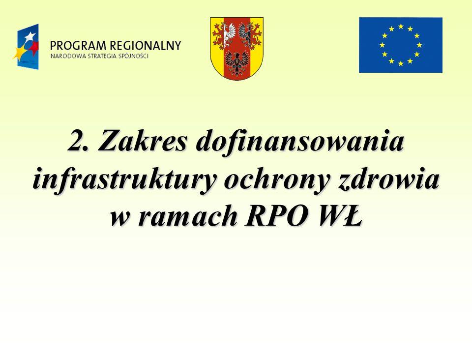 2. Zakres dofinansowania infrastruktury ochrony zdrowia w ramach RPO WŁ