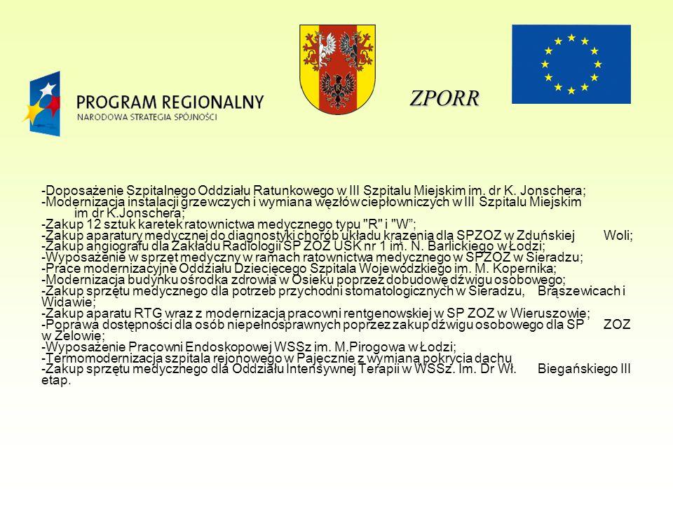 ZPORR -Doposażenie Szpitalnego Oddziału Ratunkowego w III Szpitalu Miejskim im.