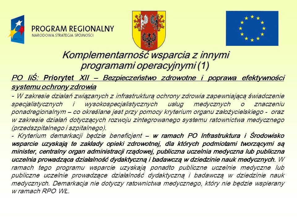 Komplementarność wsparcia z innymi programami operacyjnymi (1) PO IiŚ: Priorytet XII – Bezpieczeństwo zdrowotne i poprawa efektywności systemu ochrony zdrowia - W zakresie działań związanych z infrastrukturą ochrony zdrowia zapewniającą świadczenie specjalistycznych i wysokospecjalistycznych usług medycznych o znaczeniu ponadregionalnym – co określane jest przy pomocy kryterium organu założycielskiego - oraz w zakresie działań dotyczących rozwoju zintegrowanego systemu ratownictwa medycznego (przedszpitalnego i szpitalnego).