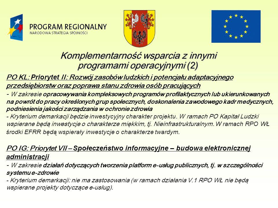 PO KL: Priorytet II: Rozwój zasobów ludzkich i potencjału adaptacyjnego przedsiębiorstw oraz poprawa stanu zdrowia osób pracujących - W zakresie opracowywania kompleksowych programów profilaktycznych lub ukierunkowanych na powrót do pracy określonych grup społecznych, doskonalenia zawodowego kadr medycznych, podniesienia jakości zarządzania w ochronie zdrowia - Kryterium demarkacji będzie inwestycyjny charakter projektu.
