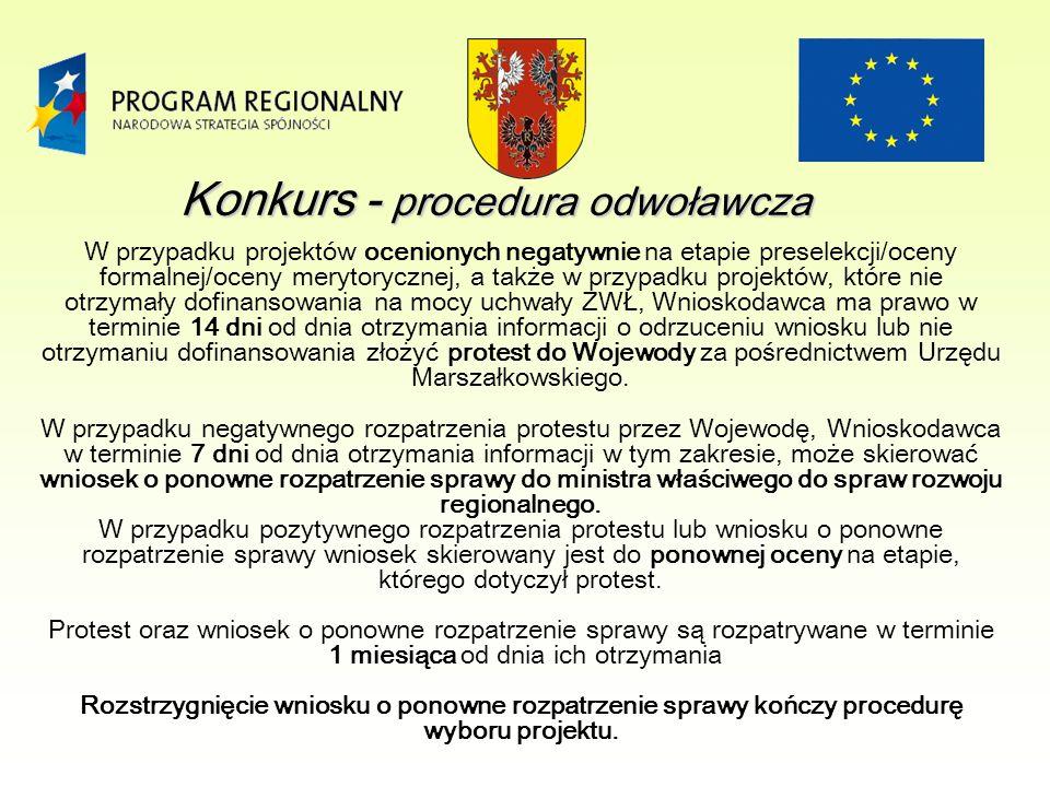 W przypadku projektów ocenionych negatywnie na etapie preselekcji/oceny formalnej/oceny merytorycznej, a także w przypadku projektów, które nie otrzymały dofinansowania na mocy uchwały ZWŁ, Wnioskodawca ma prawo w terminie 14 dni od dnia otrzymania informacji o odrzuceniu wniosku lub nie otrzymaniu dofinansowania złożyć protest do Wojewody za pośrednictwem Urzędu Marszałkowskiego.