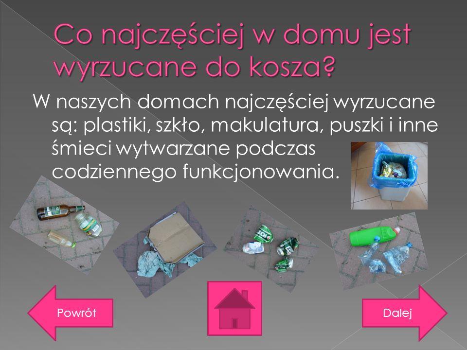 W naszych domach najczęściej wyrzucane są: plastiki, szkło, makulatura, puszki i inne śmieci wytwarzane podczas codziennego funkcjonowania. DalejPowró
