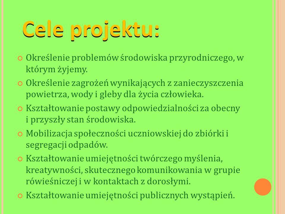 Cele projektu: Określenie problemów środowiska przyrodniczego, w którym żyjemy.
