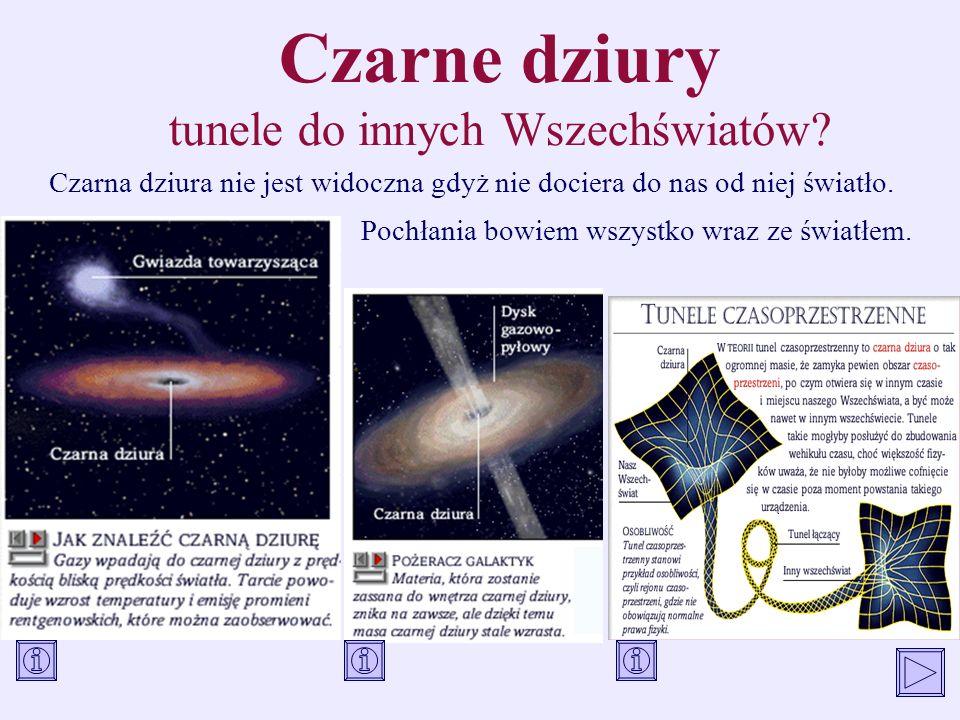 Czarne dziury tunele do innych Wszechświatów? Czarna dziura nie jest widoczna gdyż nie dociera do nas od niej światło. Pochłania bowiem wszystko wraz