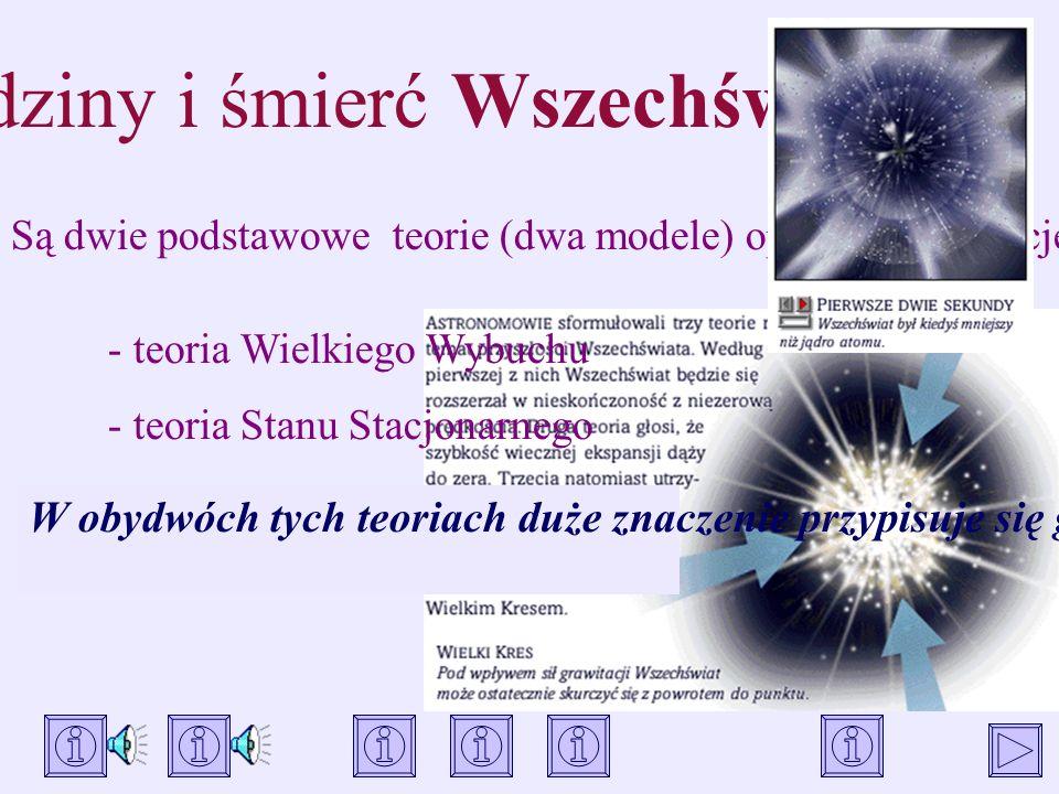 Narodziny i śmierć Wszechświata Są dwie podstawowe teorie (dwa modele) opisujące ewolucję Wszechświata. W obydwóch tych teoriach duże znaczenie przypi