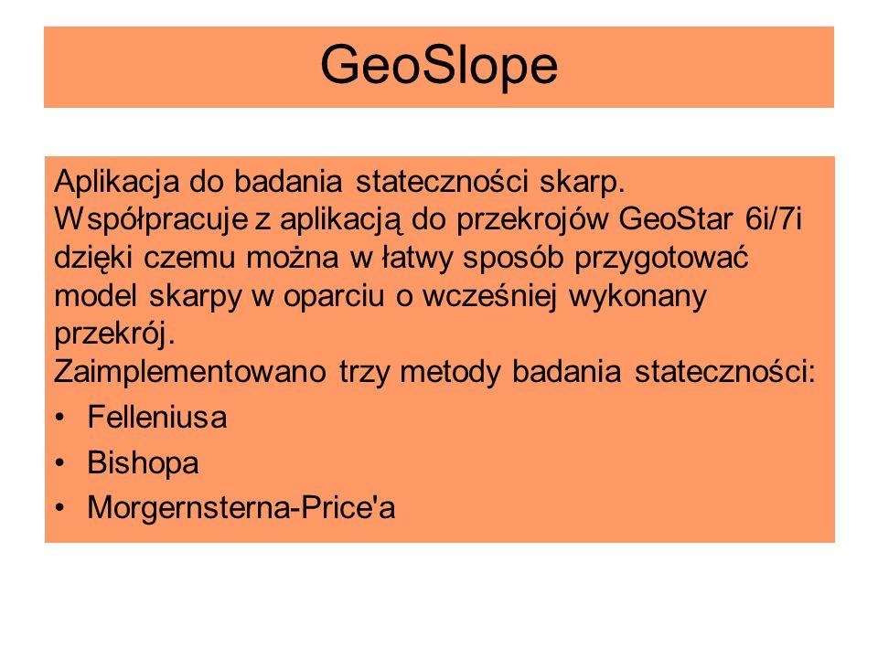 GeoSlope Aplikacja do badania stateczności skarp.