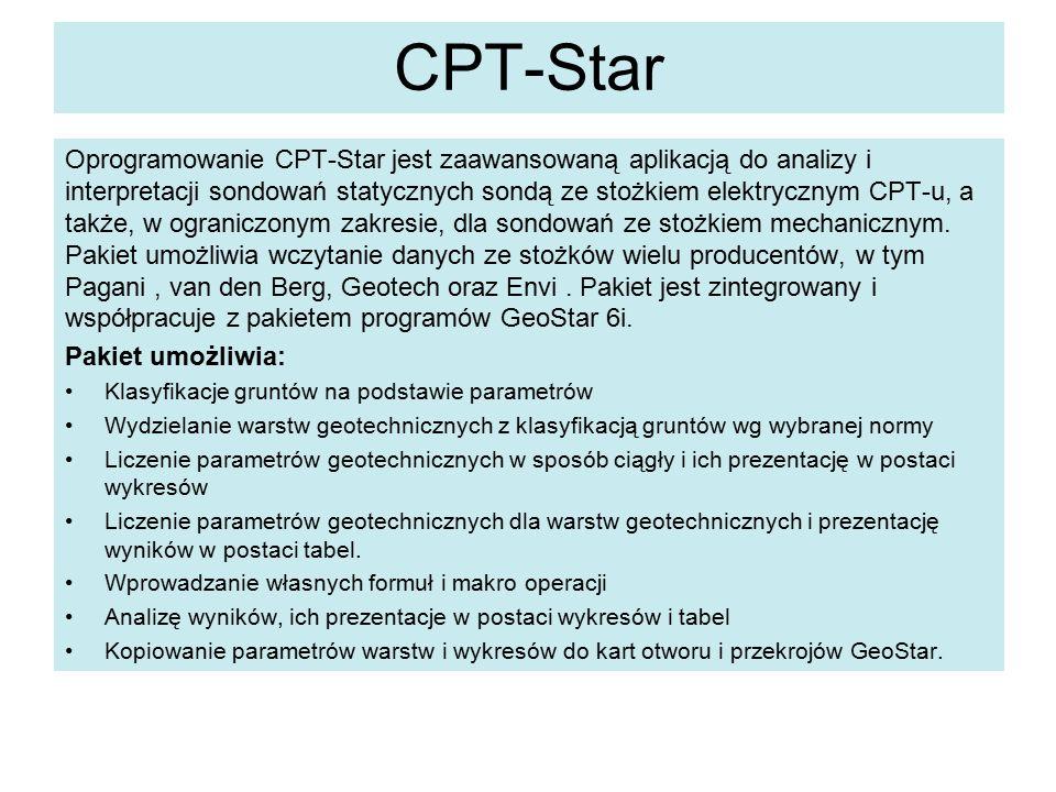 CPT-Star Oprogramowanie CPT-Star jest zaawansowaną aplikacją do analizy i interpretacji sondowań statycznych sondą ze stożkiem elektrycznym CPT-u, a także, w ograniczonym zakresie, dla sondowań ze stożkiem mechanicznym.