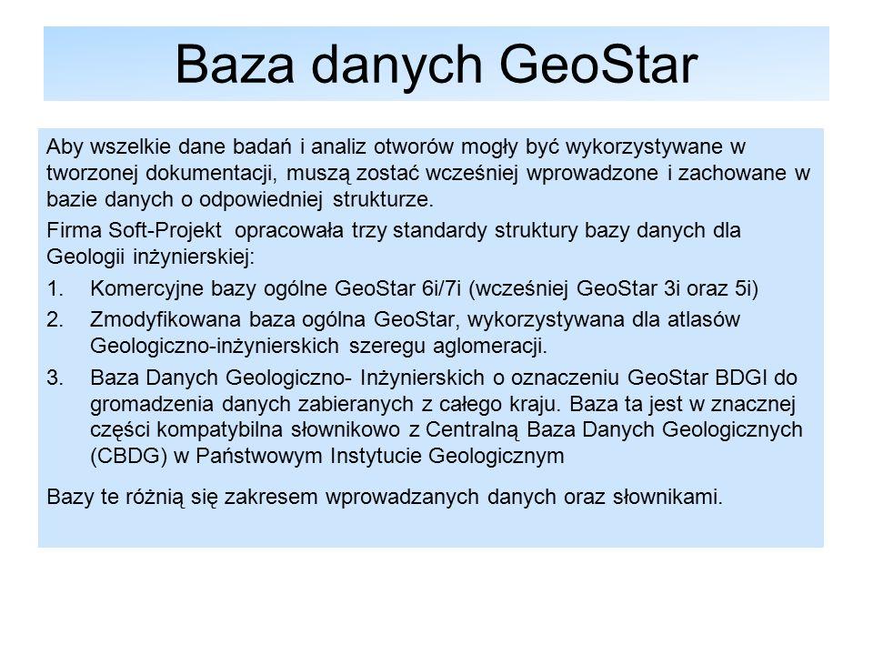 Baza danych GeoStar Aby wszelkie dane badań i analiz otworów mogły być wykorzystywane w tworzonej dokumentacji, muszą zostać wcześniej wprowadzone i zachowane w bazie danych o odpowiedniej strukturze.