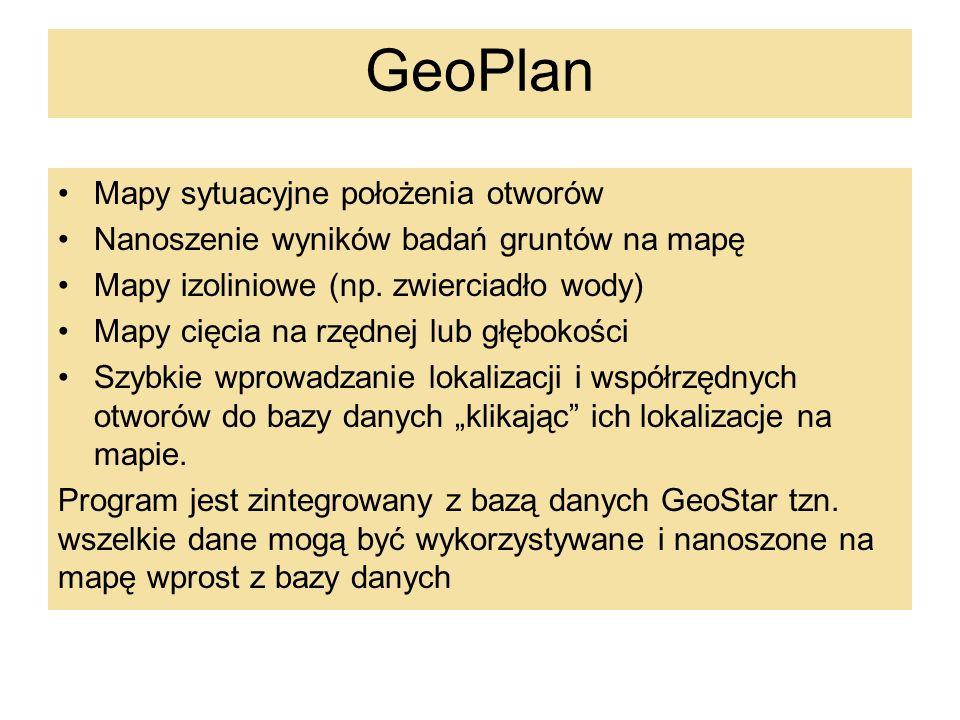GeoPlan – mapa cięcia i mapa izoliniowa