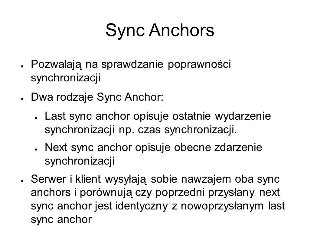 Sync Anchors ● Pozwalają na sprawdzanie poprawności synchronizacji ● Dwa rodzaje Sync Anchor: ● Last sync anchor opisuje ostatnie wydarzenie synchronizacji np.