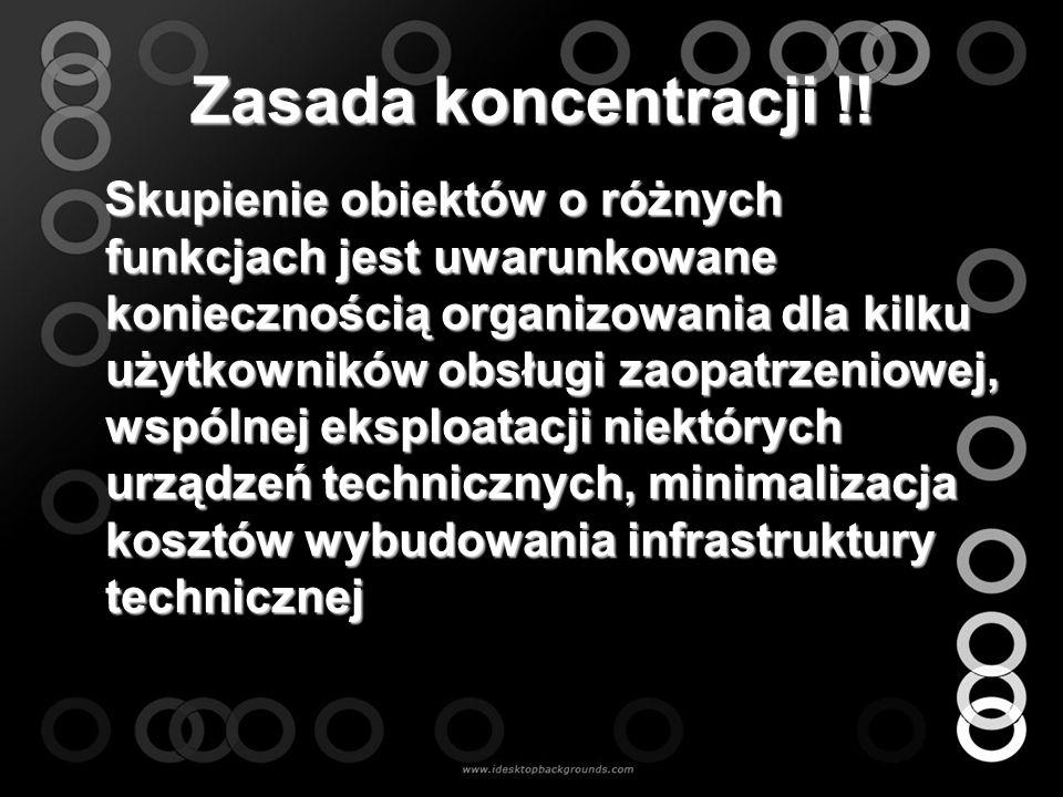 Zasada koncentracji !! Skupienie obiektów o różnych funkcjach jest uwarunkowane koniecznością organizowania dla kilku użytkowników obsługi zaopatrzeni