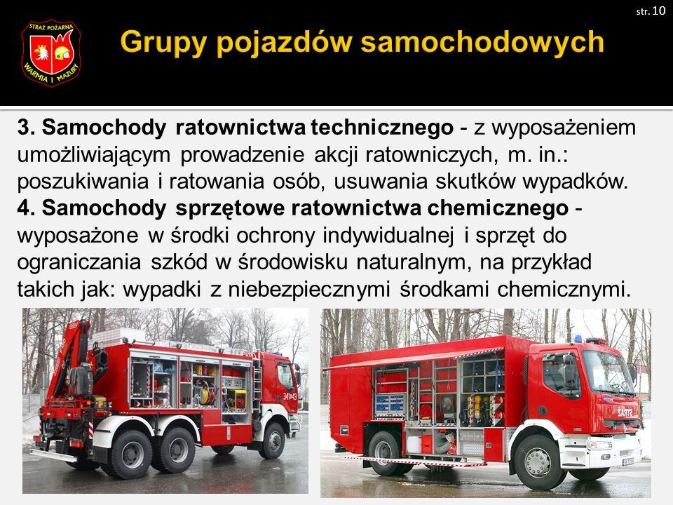 3. Samochody ratownictwa technicznego - z wyposażeniem umożliwiającym prowadzenie akcji ratowniczych, m. in.: poszukiwania i ratowania osób, usuwania
