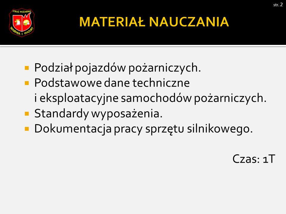 str. 2  Podział pojazdów pożarniczych.