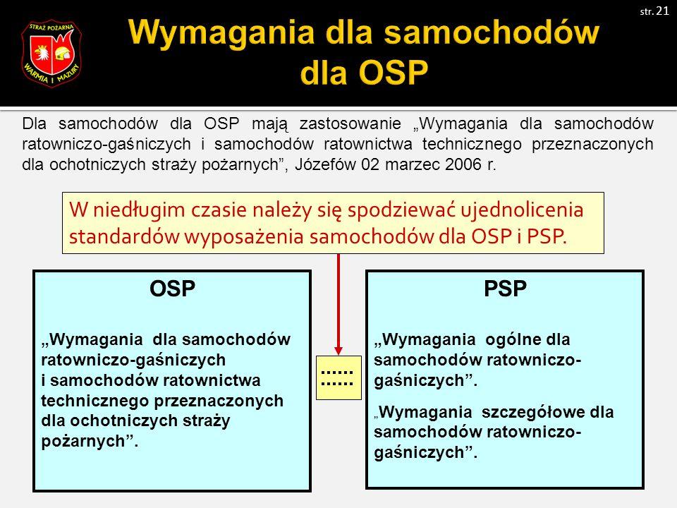 """Dla samochodów dla OSP mają zastosowanie """"Wymagania dla samochodów ratowniczo-gaśniczych i samochodów ratownictwa technicznego przeznaczonych dla ochotniczych straży pożarnych , Józefów 02 marzec 2006 r."""
