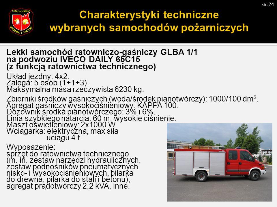 Lekki samochód ratowniczo-gaśniczy GLBA 1/1 na podwoziu IVECO DAILY 65C15 (z funkcją ratownictwa technicznego) Układ jezdny: 4x2.
