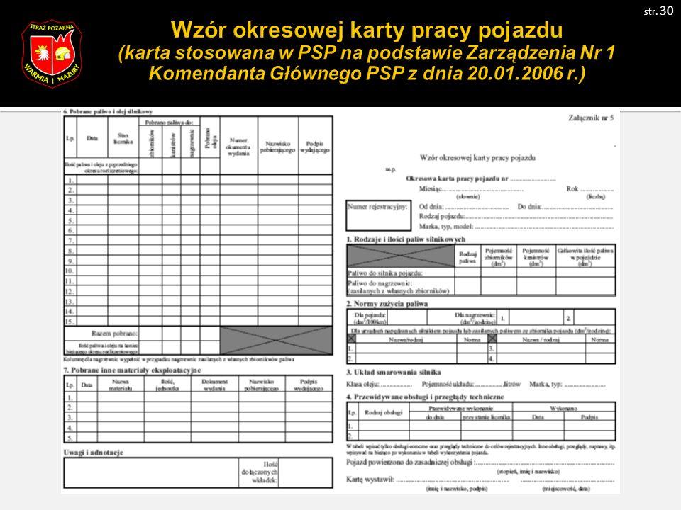 Wzór okresowej karty pracy pojazdu (karta stosowana w PSP na podstawie Zarządzenia Nr 1 Komendanta Głównego PSP z dnia 20.01.2006 r.) str.