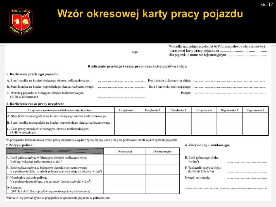 Wzór okresowej karty pracy pojazdu str. 32
