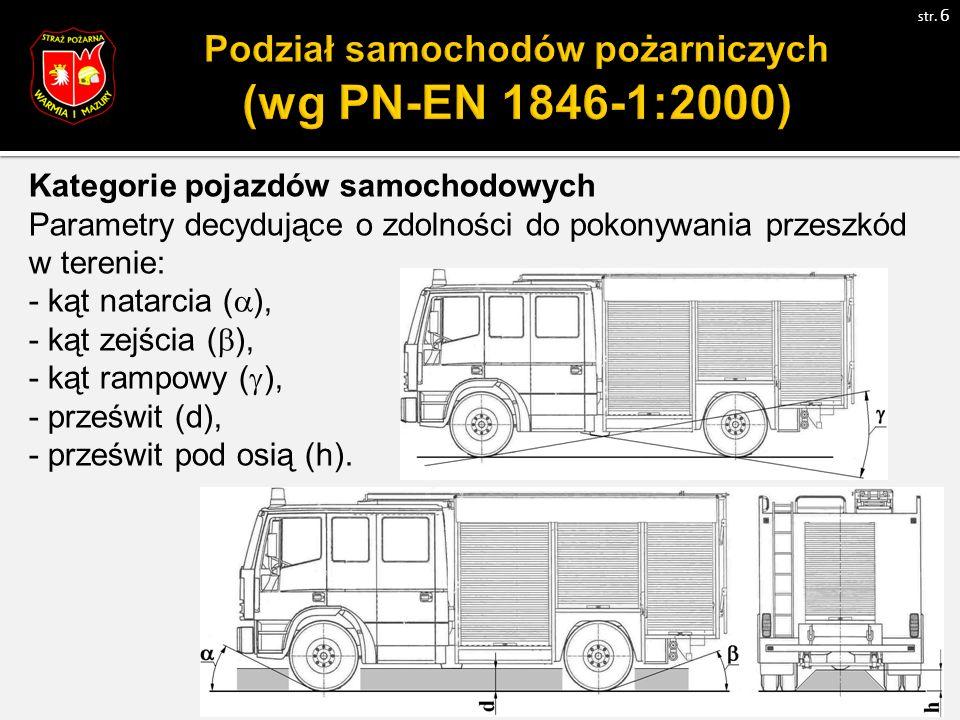 Kategorie pojazdów samochodowych Parametry decydujące o zdolności do pokonywania przeszkód w terenie: - kąt natarcia (  ), - kąt zejścia (  ), - kąt rampowy (  ), - prześwit (d), - prześwit pod osią (h).