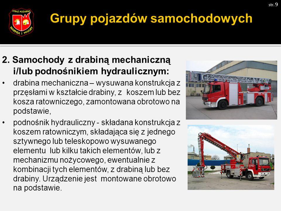 2. Samochody z drabiną mechaniczną i/lub podnośnikiem hydraulicznym: drabina mechaniczna – wysuwana konstrukcja z przęsłami w kształcie drabiny, z kos