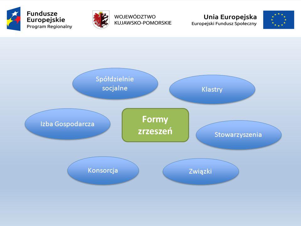 Stowarzyszenia Spółdzielnie socjalne Konsorcja Izba Gospodarcza Związki Formy zrzeszeń Klastry