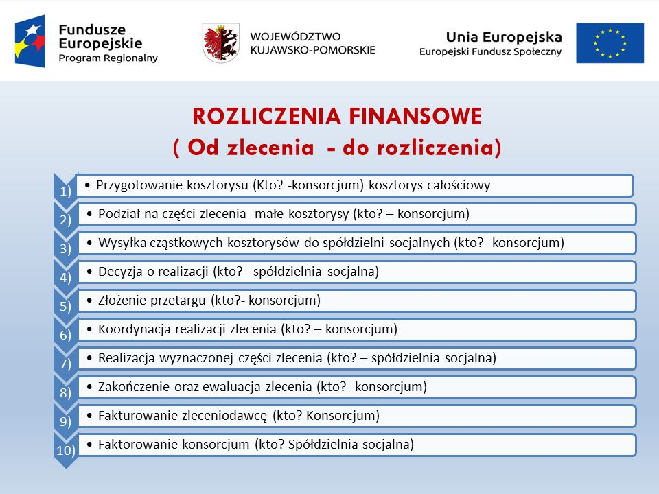 ROZLICZENIA FINANSOWE ( Od zlecenia - do rozliczenia) 1) Przygotowanie kosztorysu (Kto.