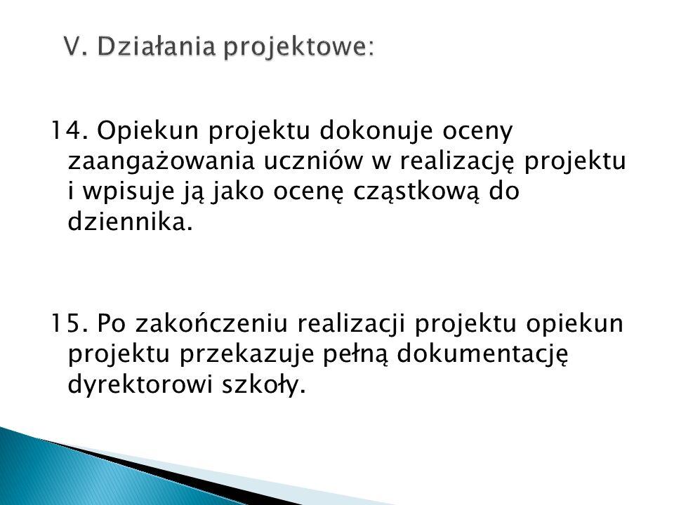 14. Opiekun projektu dokonuje oceny zaangażowania uczniów w realizację projektu i wpisuje ją jako ocenę cząstkową do dziennika. 15. Po zakończeniu rea