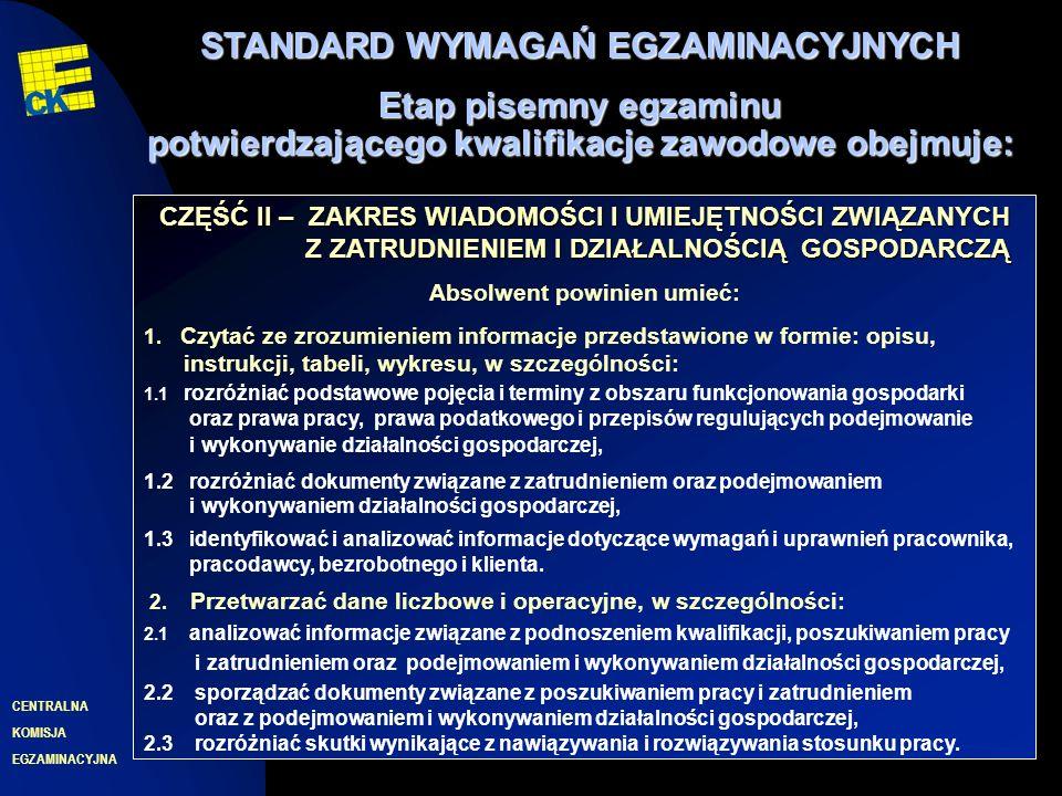 EGZAMINACYJNA CENTRALNA KOMISJA 10 CZĘŚĆ II – ZAKRES WIADOMOŚCI I UMIEJĘTNOŚCI ZWIĄZANYCH Z ZATRUDNIENIEM I DZIAŁALNOŚCIĄ GOSPODARCZĄ Absolwent powinien umieć: 1.