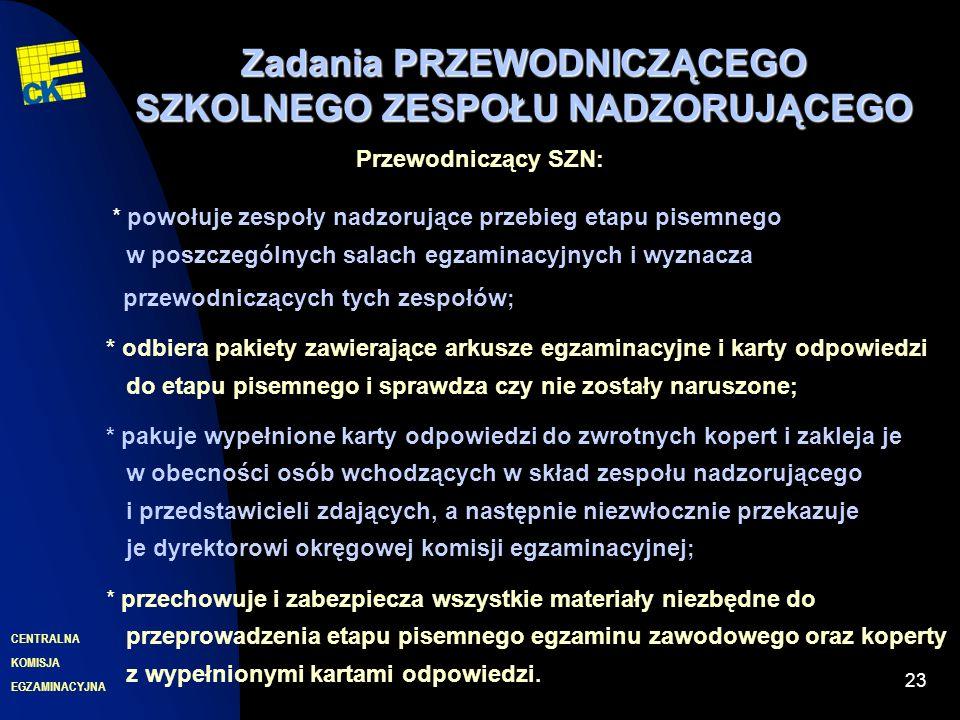 EGZAMINACYJNA CENTRALNA KOMISJA 23 Zadania PRZEWODNICZĄCEGO SZKOLNEGO ZESPOŁU NADZORUJĄCEGO Przewodniczący SZN : * powołuje zespoły nadzorujące przebieg etapu pisemnego w poszczególnych salach egzaminacyjnych i wyznacza przewodniczących tych zespołów ; * odbiera pakiety zawierające arkusze egzaminacyjne i karty odpowiedzi do etapu pisemnego i sprawdza czy nie zostały naruszone ; * pakuje wypełnione karty odpowiedzi do zwrotnych kopert i zakleja je w obecności osób wchodzących w skład zespołu nadzorującego i przedstawicieli zdających, a następnie niezwłocznie przekazuje je dyrektorowi okręgowej komisji egzaminacyjnej ; * przechowuje i zabezpiecza wszystkie materiały niezbędne do przeprowadzenia etapu pisemnego egzaminu zawodowego oraz koperty z wypełnionymi kartami odpowiedzi.